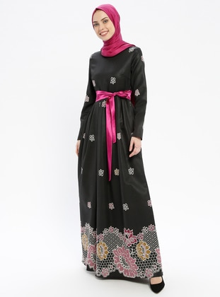 Fuchsia - Multi - Fully Lined - Crew neck - Muslim Evening Dress