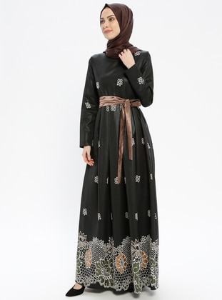 Brown - Multi - Fully Lined - Crew neck - Muslim Evening Dress