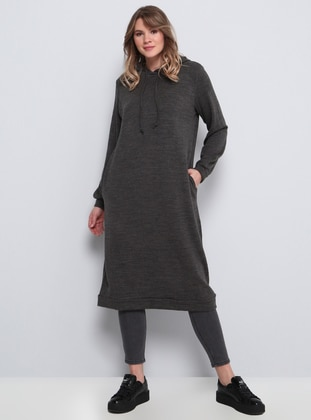 Anthracite - Acrylic -  - Plus Size Tunic