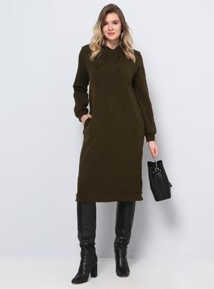 Khaki - Acrylic -  - Plus Size Tunic