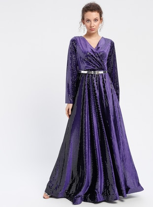 Purple - Unlined - V neck Collar - Muslim Evening Dress