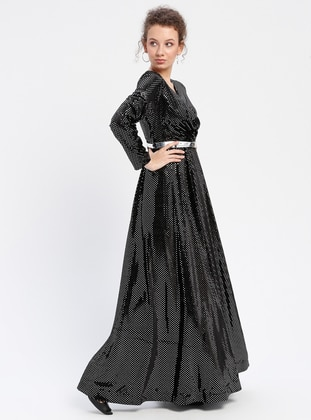 Black - Unlined - V neck Collar - Muslim Evening Dress