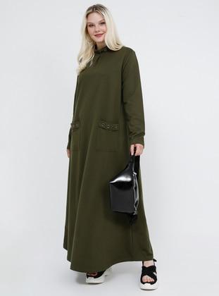 Khaki - Unlined - Polo neck - Plus Size Dress