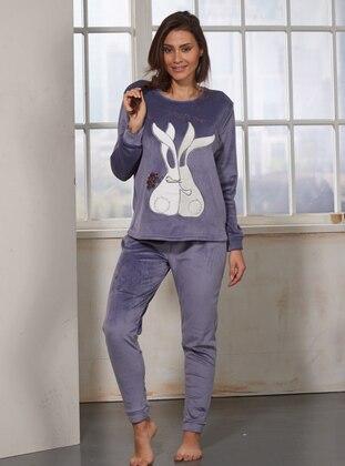 Nakışlı Polar Pijama Takımı - İndigo - Sevim Ürün Resmi