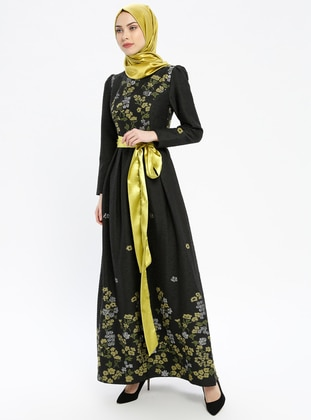 Green - Multi - Fully Lined - Crew neck - Muslim Evening Dress