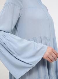 Blue - Indigo - Button Collar - Viscose - Tunic