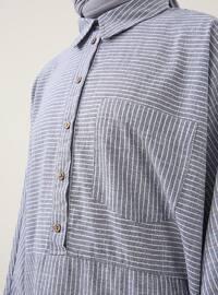 Navy Blue - Stripe - Point Collar - Cotton - Tunic