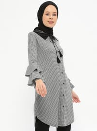 Black - Houndstooth - Point Collar - Tunic