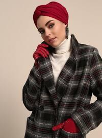 Black - Plaid - Fully Lined - Shawl Collar - Topcoat