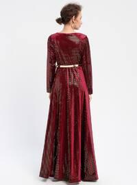Maroon - Unlined - V neck Collar - Muslim Evening Dress