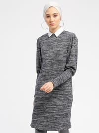 Anthracite - Crew neck - Cotton - Tunic