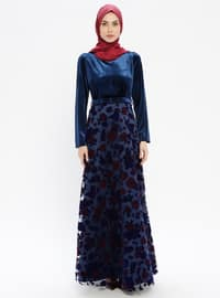 Navy Blue - Multi - Fully Lined - Crew neck - Muslim Evening Dress