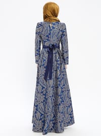 Saxe - Multi - Fully Lined - Crew neck - Muslim Evening Dress