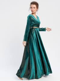 Green - Unlined - V neck Collar - Muslim Evening Dress
