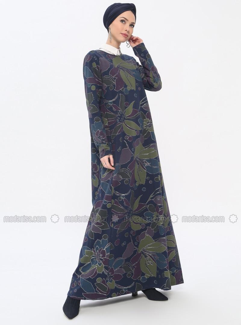 77ddb5c4d0 Navy Blue - Multi - Crew neck - Unlined - Dresses. Fotoğrafı büyütmek için  tıklayın
