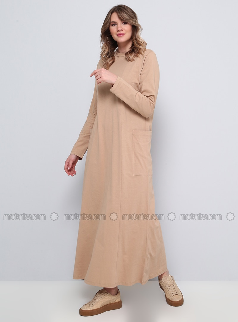 Camel - Unlined - Crew neck - Plus Size Dress