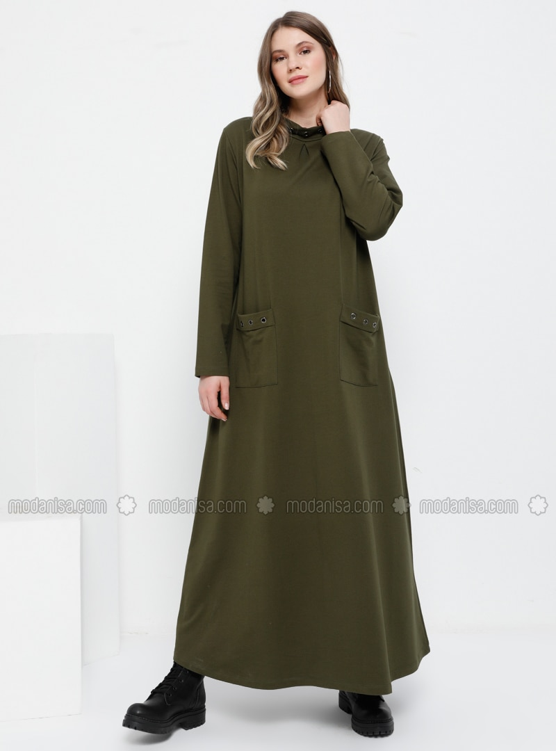 Khaki - Unlined - Polo neck - Plus Size Dress