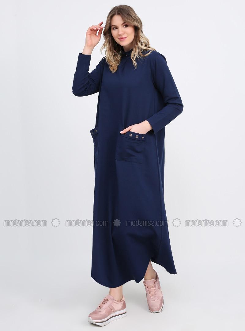 Blue - Unlined - Polo neck - Plus Size Dress