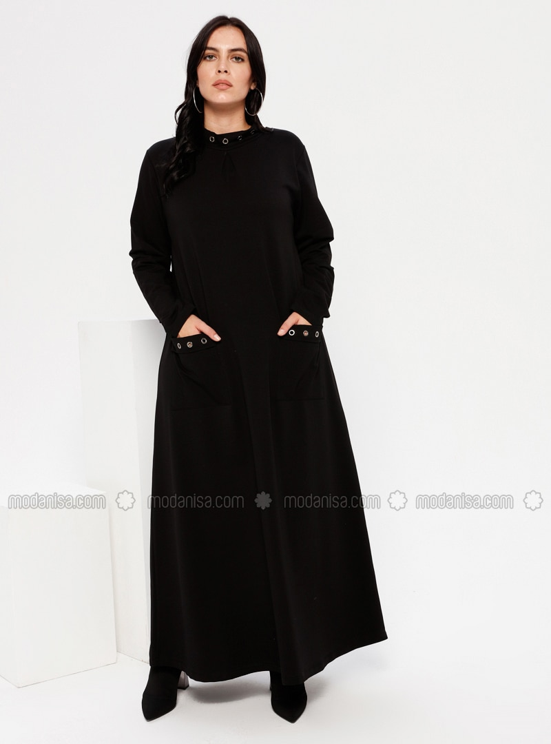 Black - Unlined - Polo neck - Plus Size Dress