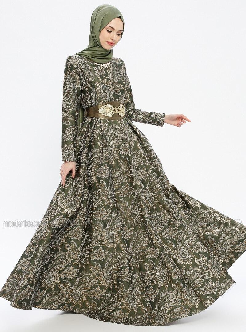 75292d30389 Khaki - Multi - Fully Lined - Crew neck - Muslim Evening Dress. Fotoğrafı  büyütmek için tıklayın
