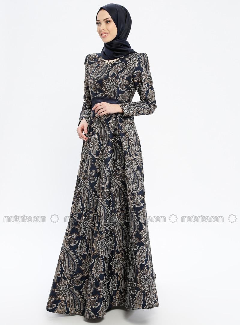 Navy Blue - Multi - Fully Lined - Crew neck - Muslim Evening Dress