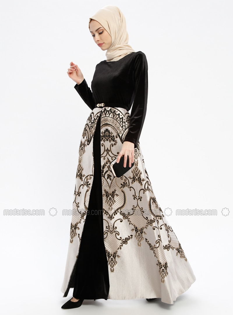 Black - Multi - Fully Lined - Crew neck - Muslim Evening Dress