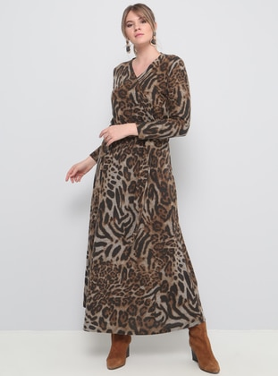 Brown - Multi - Unlined - V neck Collar - Plus Size Dress