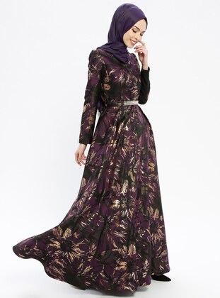 Purple - Multi - Fully Lined - Crew neck - Muslim Evening Dress