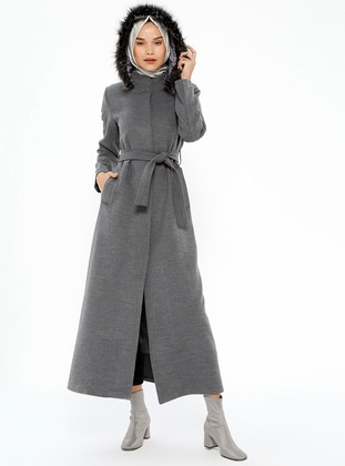 Gray - Fully Lined - Crew neck - Coat - Miss Cazibe