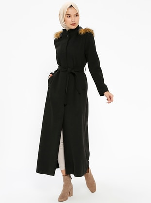 Black - Fully Lined - Crew neck - Coat - Miss Cazibe