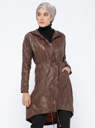 Brown - Unlined - Polo neck - Topcoat
