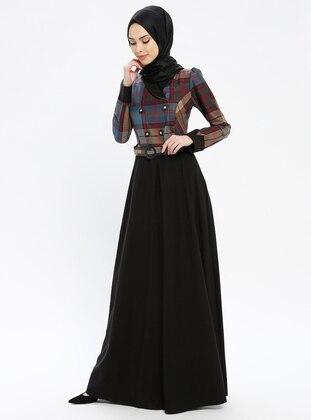 Black - Heart Print - Fully Lined - Shawl Collar - Muslim Evening Dress