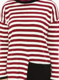 Maroon - Stripe - Crew neck - Acrylic -  - Tunic
