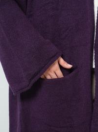 Purple - Cotton - Acrylic -  - Cardigan