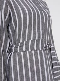 Black - White - Stripe - Point Collar - Unlined - Viscose - Dresses