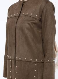 Khaki - Unlined - Crew neck - Jacket