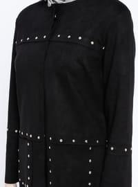 Black - Unlined - Crew neck - Jacket