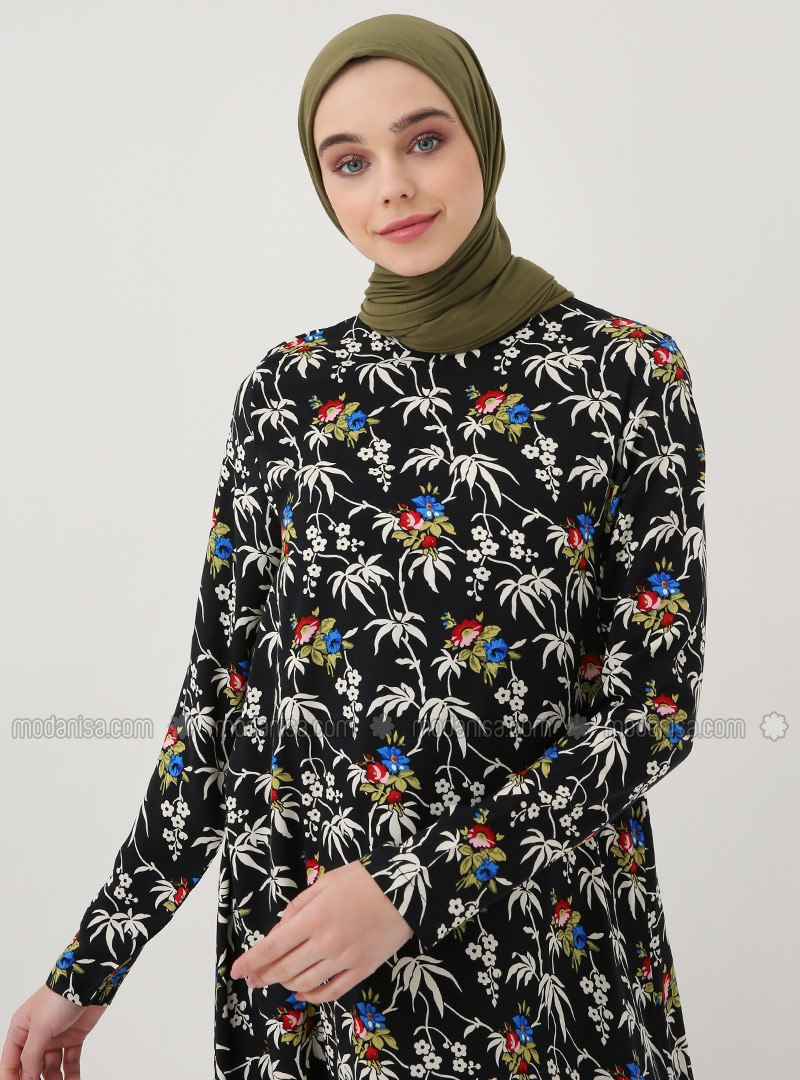 Black - Floral - Crew neck - Viscose - Tunic