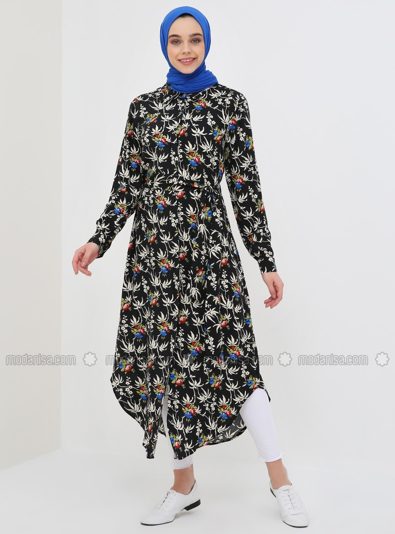 Black - Floral - Point Collar - Unlined - Viscose - Dresses