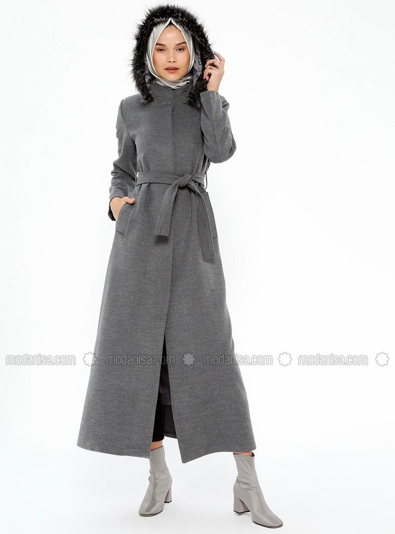 Mantel grau stehkragen