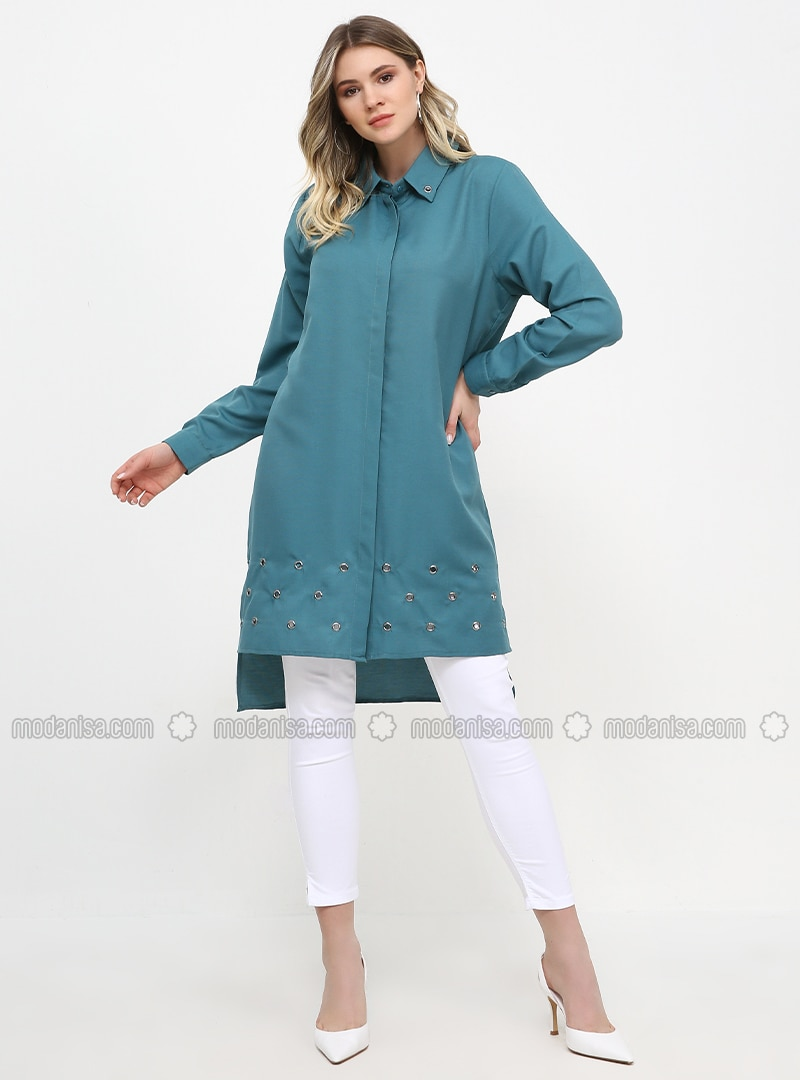 Petrol - Point Collar - Cotton - Plus Size Tunic