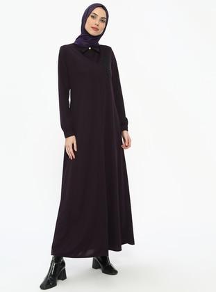 Plum - Unlined - Point Collar - Abaya