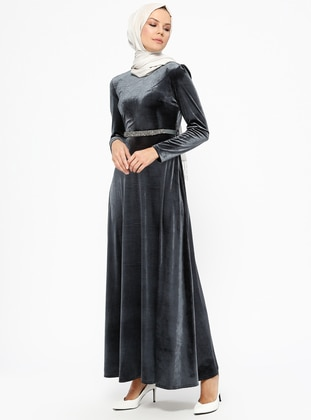 Laruj Kadife Elbise - Gri
