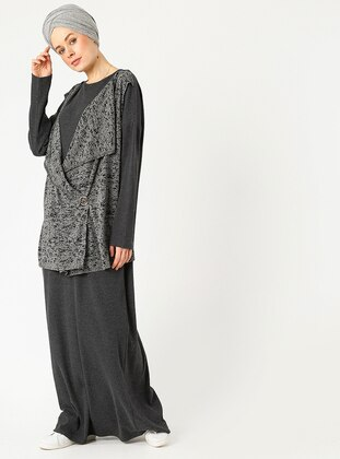 Gray - Multi - Crew neck - Unlined - Cotton - Dresses
