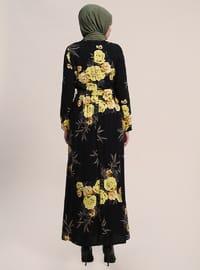 Black - Floral - Crew neck - Fully Lined - Viscose - Dresses