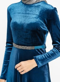 Blue - Indigo - Crew neck - Unlined - Dresses