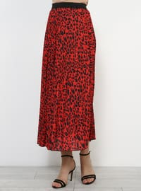 Maroon - Leopard - Fully Lined - Skirt