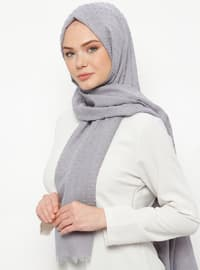 Gray - Plain - Cotton - Shawl