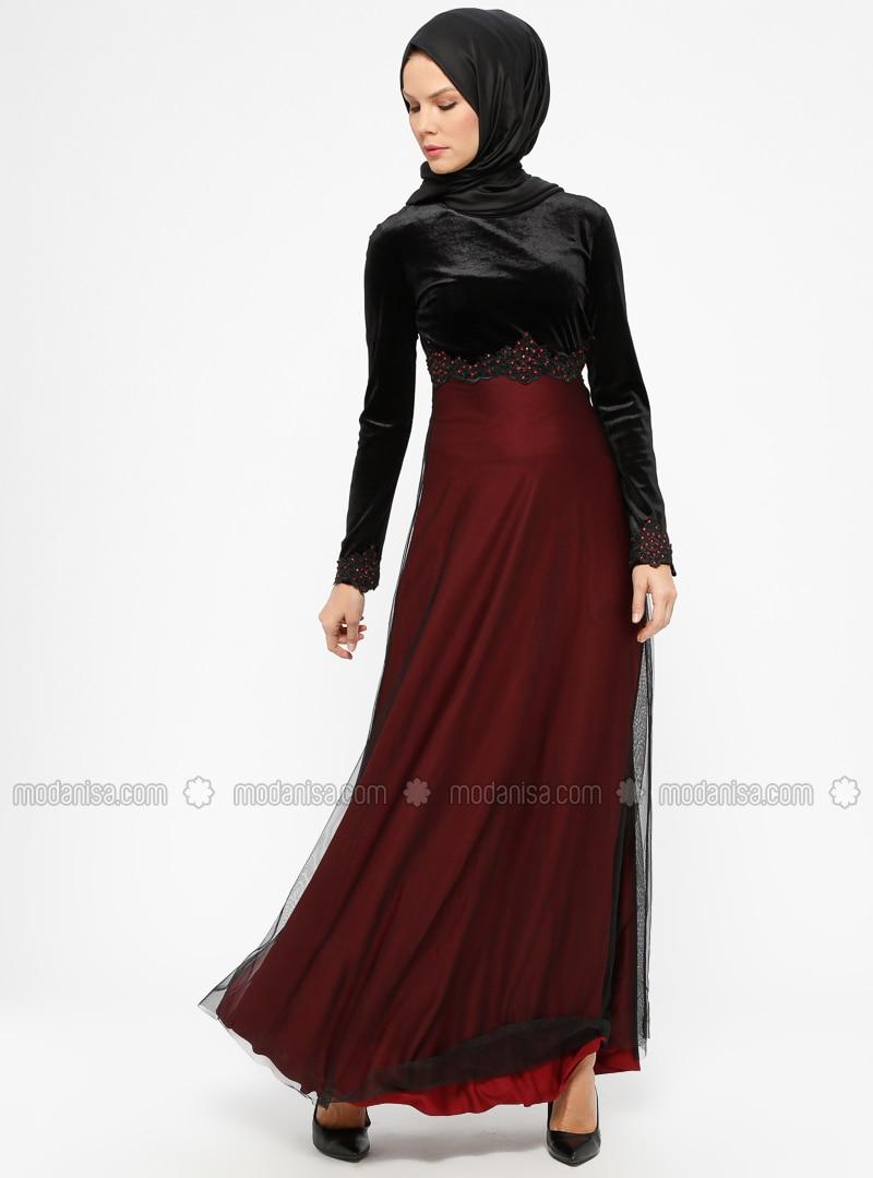426fd3328f Black - Maroon - Unlined - Crew neck - Muslim Evening Dress. Fotoğrafı  büyütmek için tıklayın