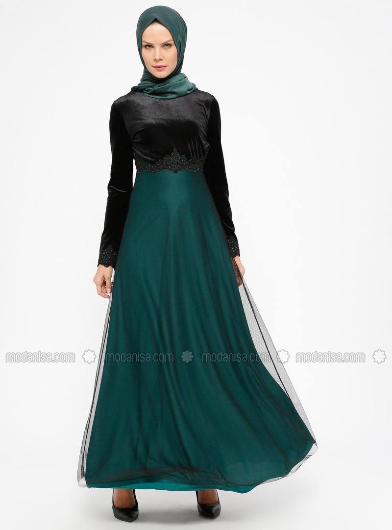 Green - Emerald - Crew neck - Unlined - Muslim Evening Dress